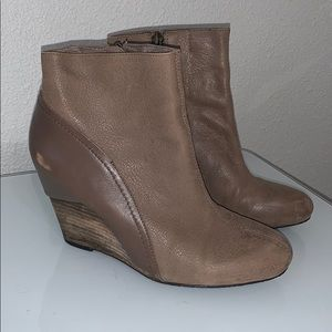 Vince Camuto TanNude Leather Wedge Ankle Booties 8